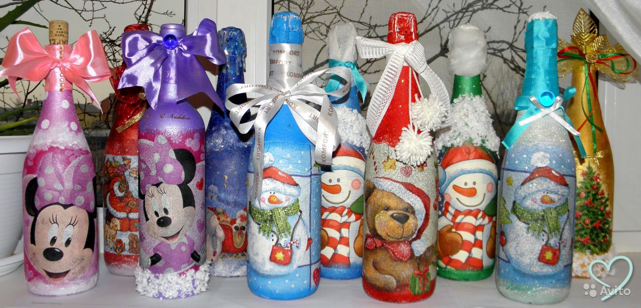 Декорирование бутылки к новому году своими руками